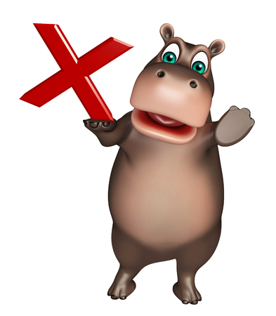 3d rendered illustration of Hippo cartoon character with cross sign