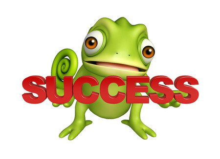 unsure: 3d rendered illustration of Chameleon cartoon character with success sign