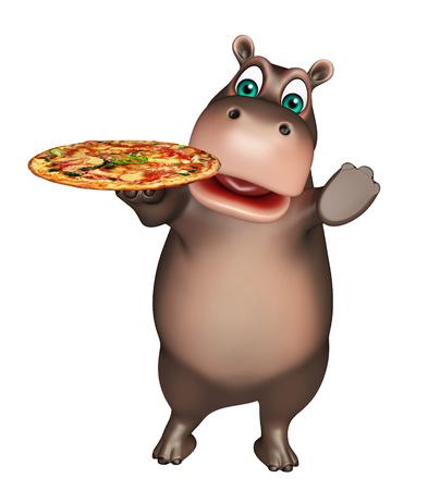 hipopotamo dibujos animados: 3d rindió la ilustración de personaje de dibujos animados hipopótamo con la pizza
