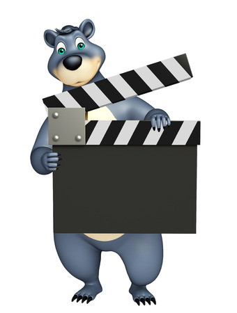 plushy: 3d rendered illustration of Bear cartoon character with clapper board