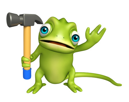 iron fun: 3d rendered illustration of Chameleon cartoon character with hammer Stock Photo