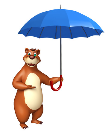 plushy: 3d rendered illustration of Bear cartoon character with umbrella