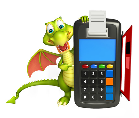 3d dragon: 3d rendered illustration of Dragon cartoon character with swap machine
