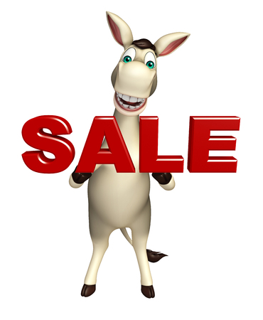 cuteness: 3d rendered illustration of Donkey cartoon character  with sale sign Stock Photo