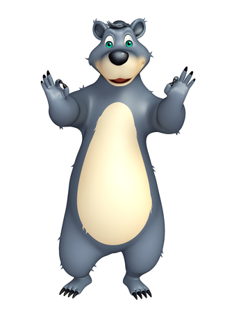assign: 3d rendered illustration of Bear cartoon character with assign best sign