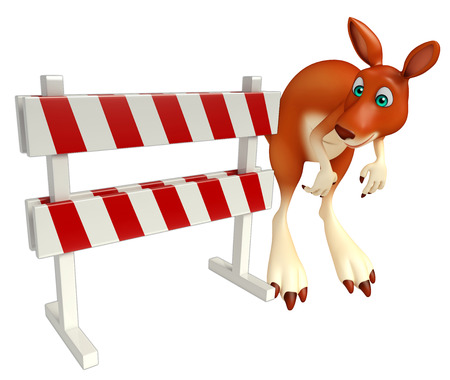 constuction: 3d rendered illustration of Kangaroo cartoon character with  baracade