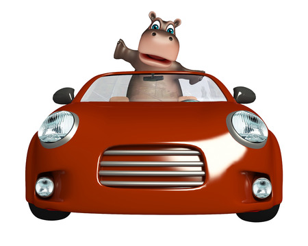 mammalia: 3d rendered illustration of Hippo cartoon character with car