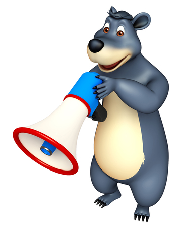 plushy: 3d rendered illustration of Bear cartoon character with loudspeaker Stock Photo