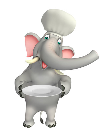 dinner plate: 3d rendered illustration of Elephant cartoon character with dinner plate and chef hat