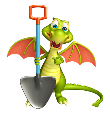 digging: 3d rendered illustration of Dragon cartoon character with digging shovel