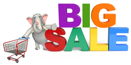 trolly: 3d rendered illustration of Elephant cartoon character with big sign and trolly