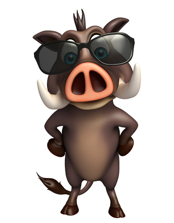 3d rendered illustration of Boar cartoon character with sunglass