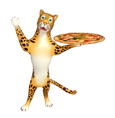 veg: 3d rendered illustration of Leopard cartoon character with pizza