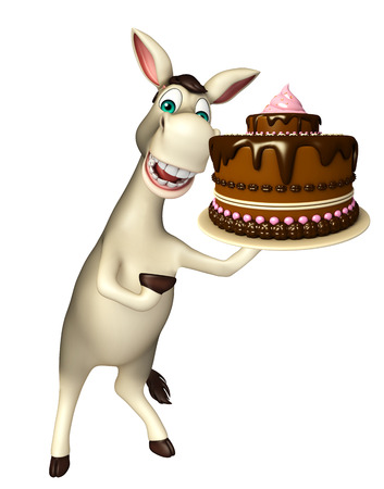 3d rendered illustration of Donkey cartoon character with cake Stock Photo