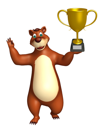 plushy: 3d rendered illustration of Bear cartoon character with winning cup