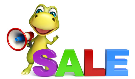 call history: 3d rendered illustration of Dinosaur cartoon character with loudspeaker and sale sign
