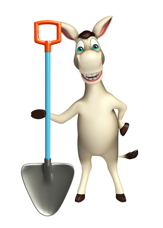 digging: 3d rendered illustration of Donkey cartoon character with digging shovel Stock Photo