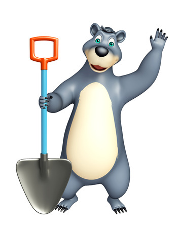 plushy: 3d rendered illustration of Bear cartoon character with digging shovel