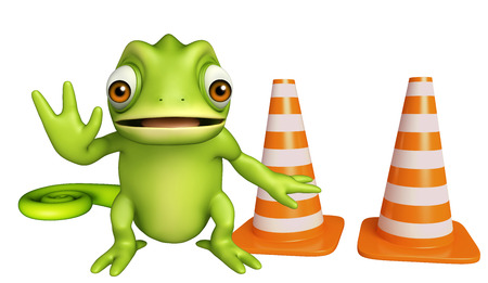zoo traffic: 3d rendered illustration of Chameleon cartoon character with construction cone Stock Photo
