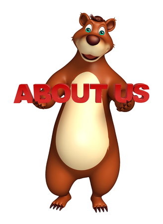 bout: 3d rendered illustration of Bear cartoon character with about us sign