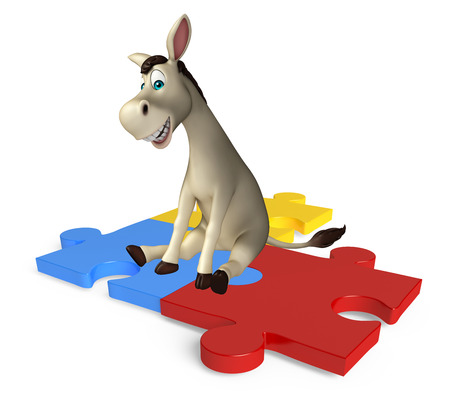 jig saw happiness: 3d rendered illustration of Donkey cartoon character  with puzzle