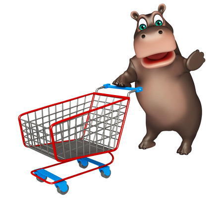 trolly: 3d rendered illustration of Hippo cartoon character with trolly Stock Photo
