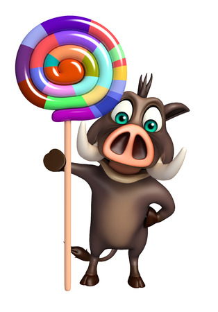 lollypop: 3d rendered illustration of Boar cartoon character with lollypop