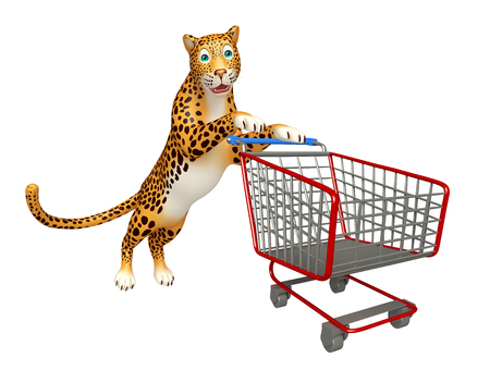 trolly: 3d rendered illustration of Leopard cartoon character with trolly