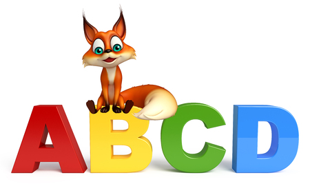 abcd: 3d rendered illustration of Fox cartoon character with ABCD sign