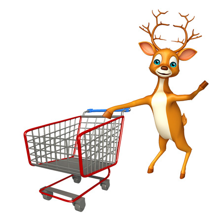 trolly: 3d rendered illustration of Deer cartoon character with trolly