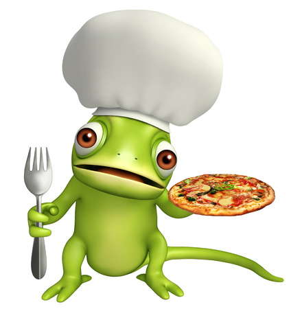 directly: 3d rendered illustration of Chameleon cartoon character with pizza and spoon