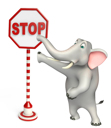 traffic ticket: 3d rendered illustration of Elephant cartoon character with stop sign Stock Photo