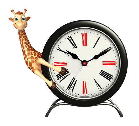 tall grass: 3d rendered illustration of Giraffe cartoon character with clock Stock Photo