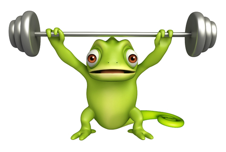 gym equipment: 3d rendered illustration of Chameleon cartoon character gym equipment