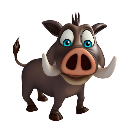 flesh: 3d rendered illustration of Boar funny cartoon character