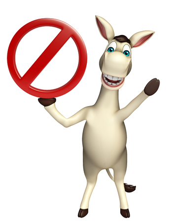 cuteness: 3d rendered illustration of Donkey cartoon character with  stop sign Stock Photo