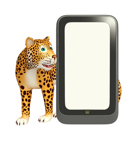 cellphone: 3d rendered illustration of Leopard cartoon character with mobile phone Stock Photo