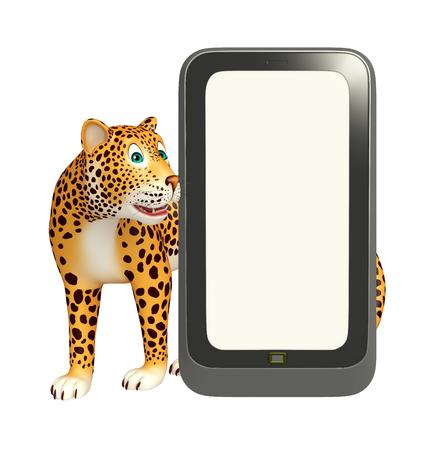 telefono caricatura: 3d rindió la ilustración de personaje de dibujos animados del leopardo con el teléfono móvil Foto de archivo