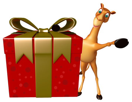 zoo dry: 3d rendered illustration of Camel cartoon character with gift box