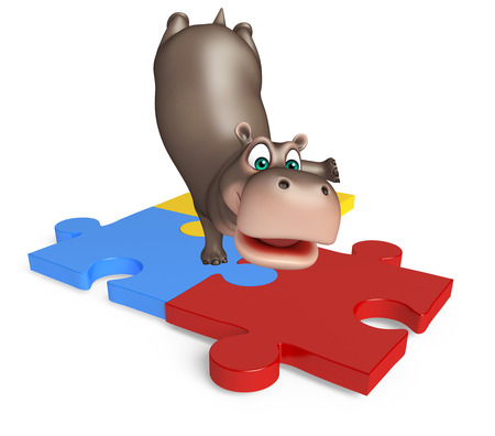 jig saw: 3d rendered illustration of Hippo cartoon character  with puzzle Stock Photo