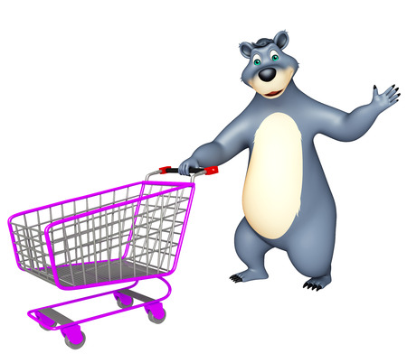trolly: 3d rendered illustration of Bear cartoon character with trolly