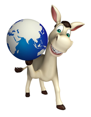 cuteness: 3d rendered illustration of Donkey cartoon character with earth sign