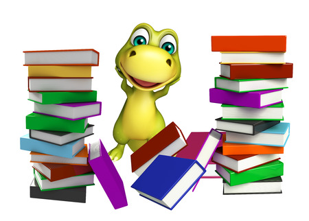 student book: 3d rendered illustration of Dinosaur cartoon character with book stack Stock Photo