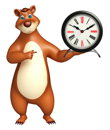 plushy: 3d rendered illustration of Bear cartoon character with clock