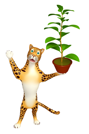 chlorophyll: 3d rendered illustration of Leopard cartoon character with plant