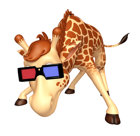 goggle: 3d rendered illustration of Giraffe cartoon character with 3D goggle