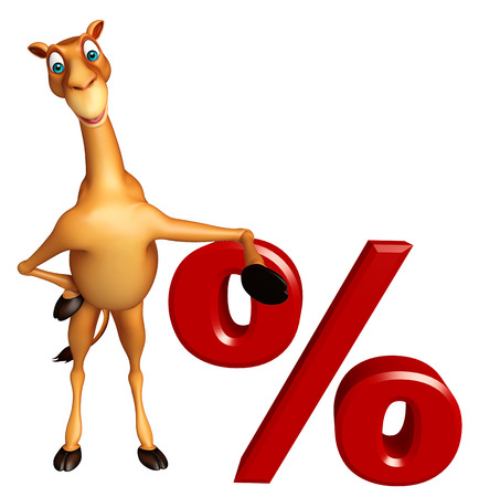 zoo dry: 3d rendered illustration of Camel cartoon character with percentage sign