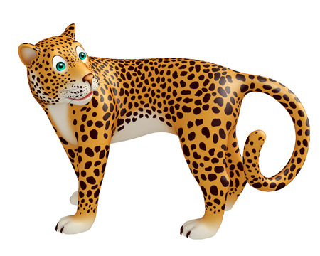 veg: 3d rendered illustration of look back Leopard cartoon character Stock Photo