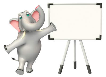 cartoon elephant: 3d rendered illustration of Elephant cartoon character with white board