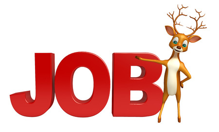 job hunting: 3d rendered illustration of Deer cartoon character with job sign